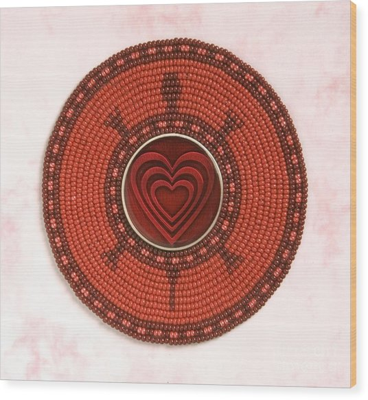 Red Heart Turtle Wood Print