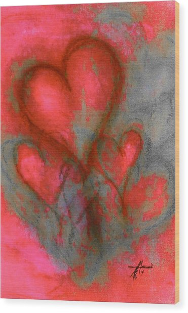 Red Hearts Wood Print