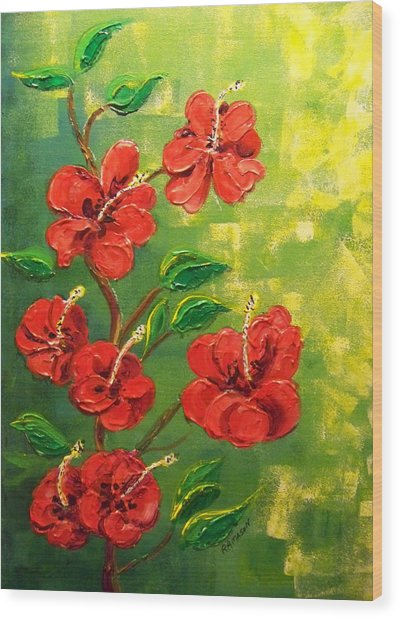 Red Hibiscus 2 Wood Print by Rich Mason