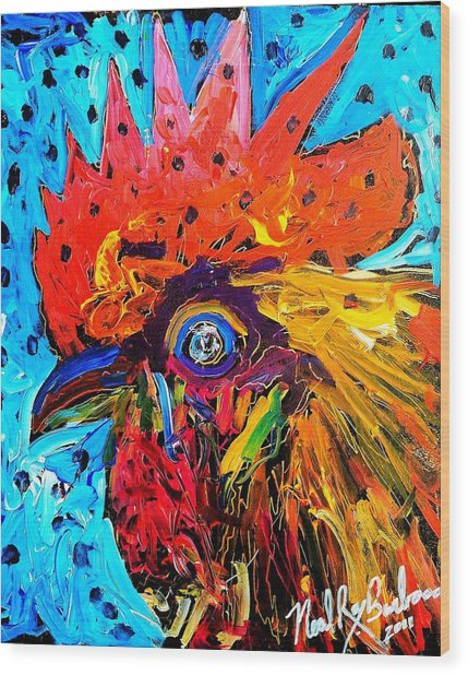 Red Hill Rooster Was Painted During Live Music Wood Print