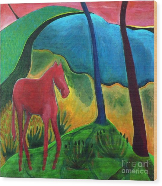 Red Horse Wood Print by Elizabeth Fontaine-Barr