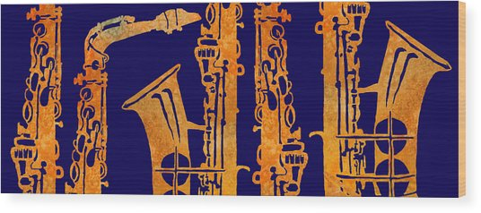 Red Hot Sax Keys Wood Print