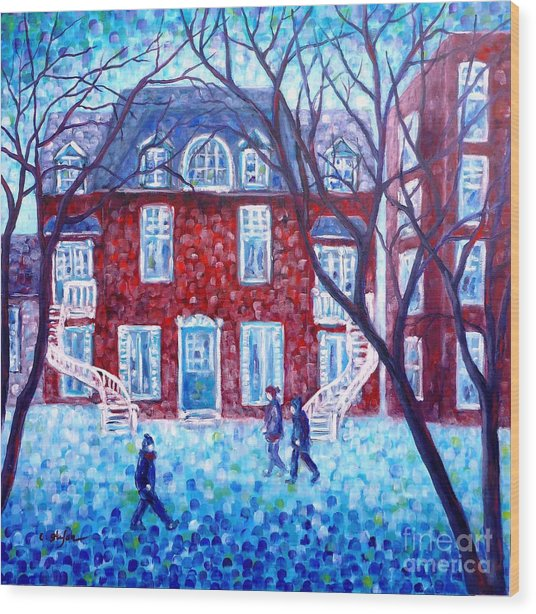 Red House In Montreal - Cityscape Wood Print