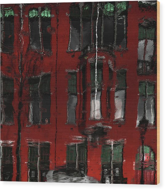 Red House Reflections Wood Print