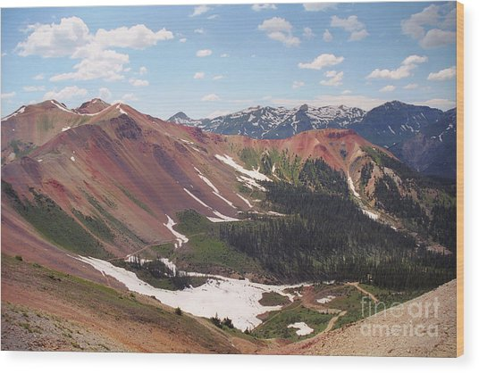 Red Iron Mountain Wood Print