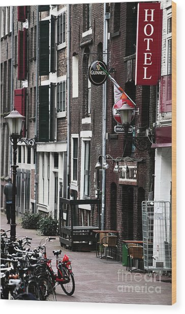 Red Light District Hotel Wood Print by John Rizzuto
