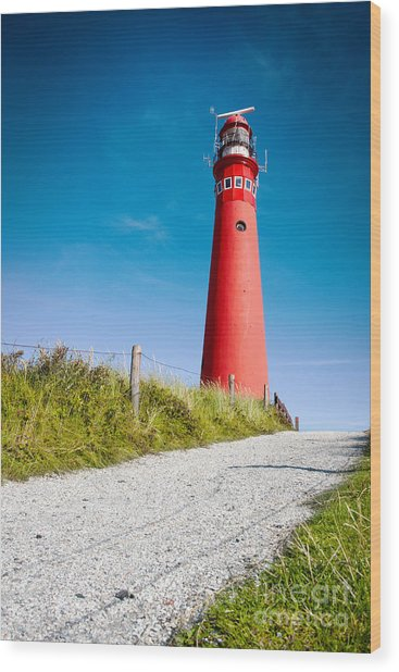 Red Lighthouse And Deep Blue Sky. Wood Print