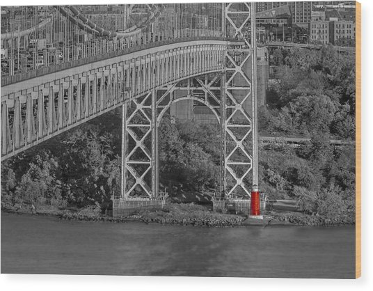 Red Lighthouse And Great Gray Bridge Bw Wood Print