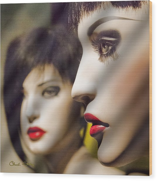 Red Lips - Black Heart Wood Print