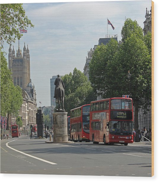 Red London Bus In Whitehall Wood Print