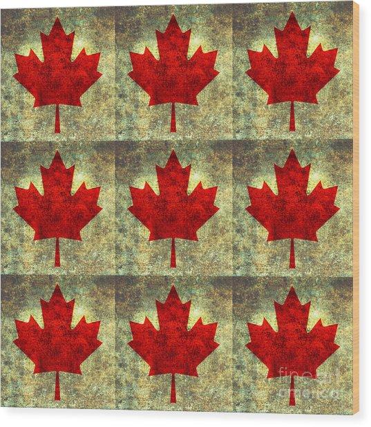 Red Maple Leaf Wood Print
