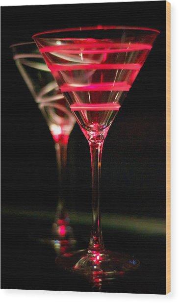 Red Martini Wood Print