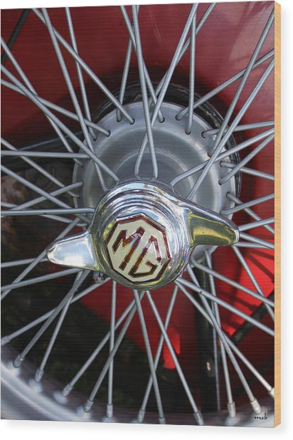 Red Mg Wire Spoke Rim Wood Print by Mark Steven Burhart