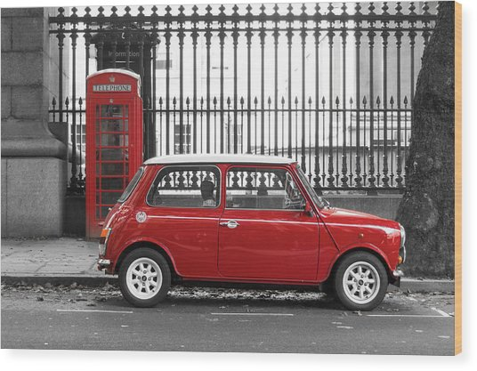 Red Mini Cooper In London Wood Print