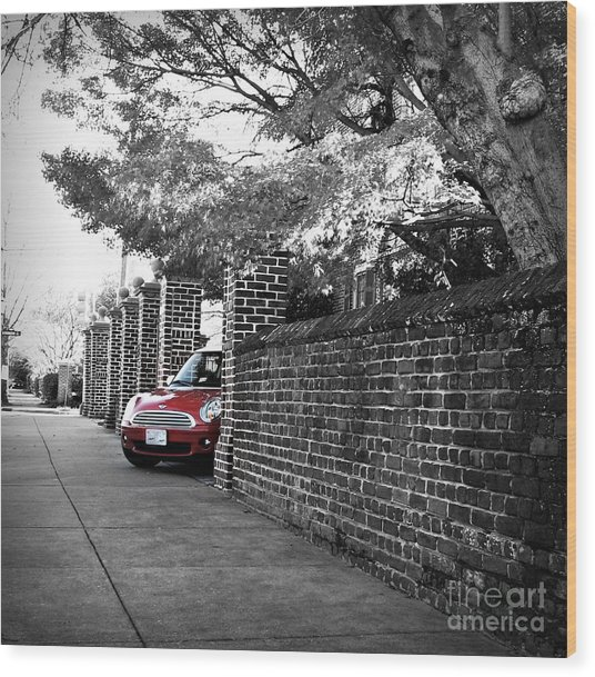 Red Mini Cooper- The Debut Wood Print