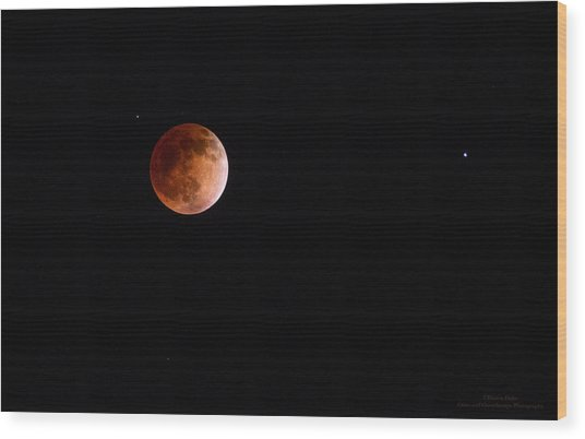 Red Moon And Spica By Denise Dube Wood Print