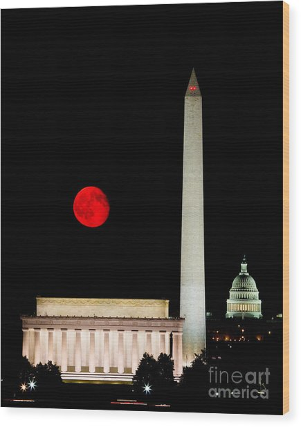 Red Moon Over Monuments Wood Print
