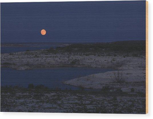 Red Moon Rising Wood Print