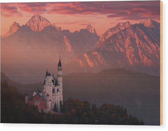 Red Morning Above The Castle Wood Print