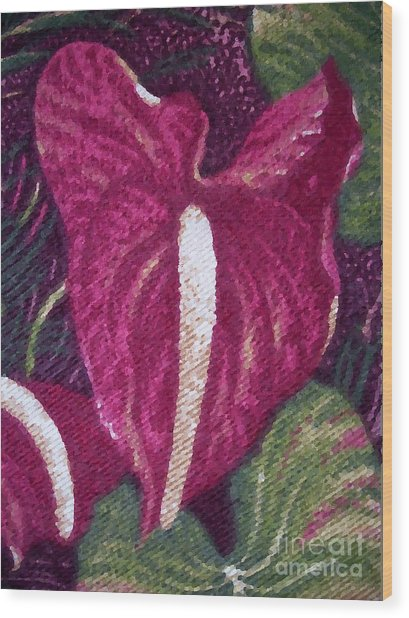 Red Orchid Print Wood Print