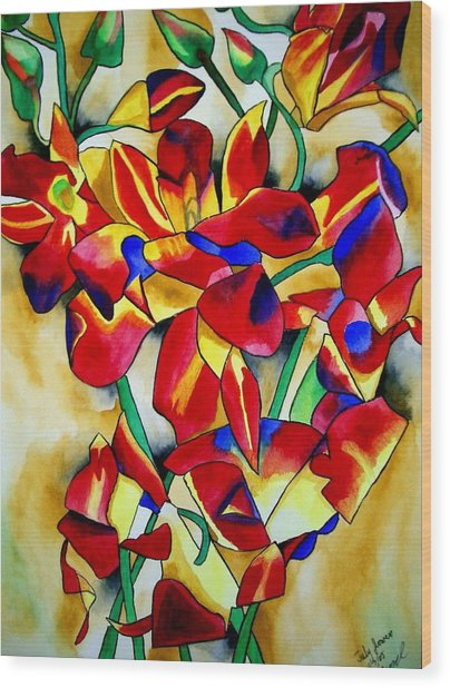 Red Orchids Wood Print by Sacha Grossel