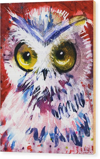 Red Owl Wood Print