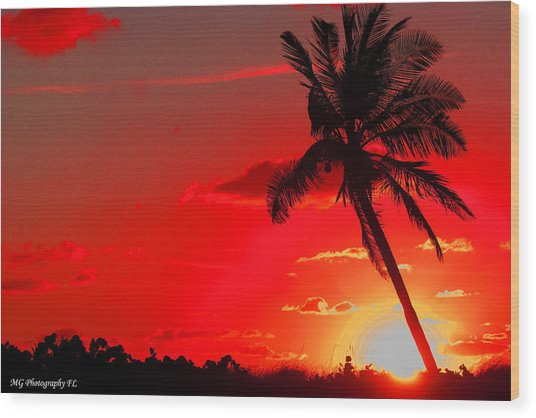 Red Palm Wood Print