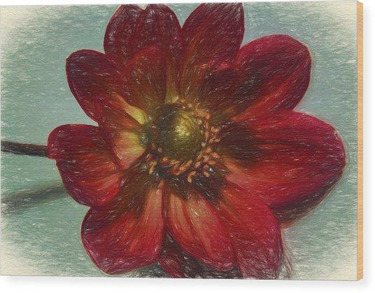 Red Petal Sketch Wood Print