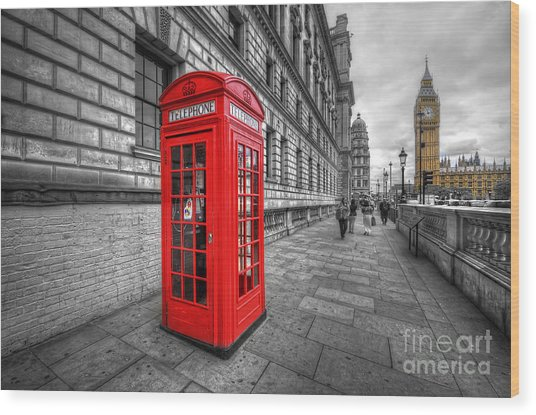 Red Phone Box And Big Ben Wood Print