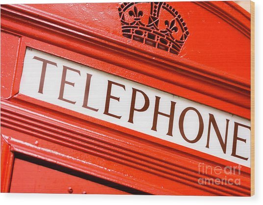 Red Phone Box Wood Print