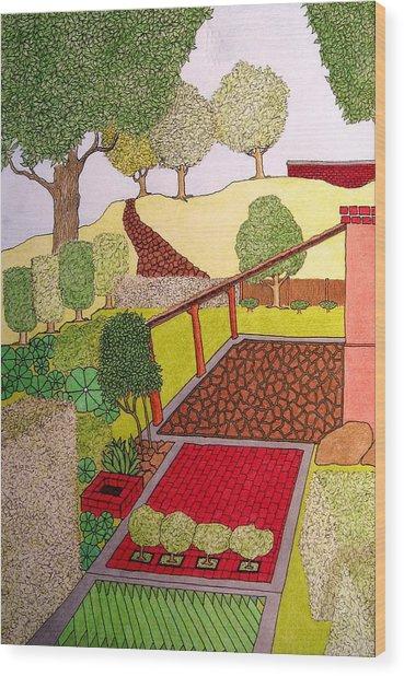 Red Planter Wood Print