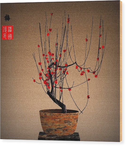 Red Plum Blossoms Wood Print by GuoJun Pan