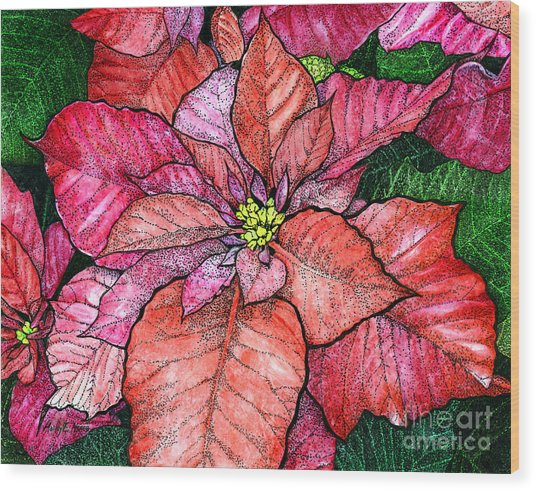 Red Poinsettias II Wood Print