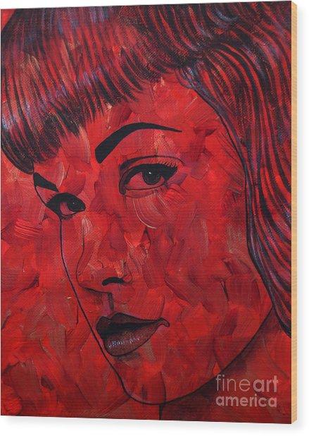 Red Pop Bettie Wood Print