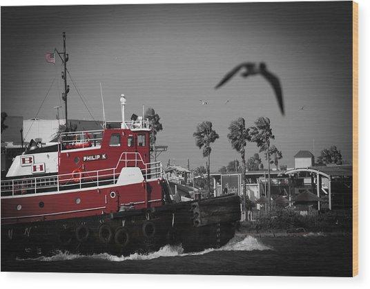 Red Pop Tugboat Wood Print