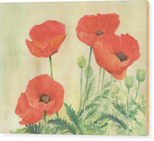 Red Poppies 3 Colorful Watercolor Poppy Floral Original Art Flowers Garden Artist K. Joann Russell Wood Print