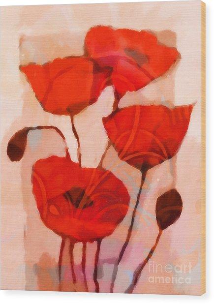 Red Poppies Art Wood Print by Lutz Baar
