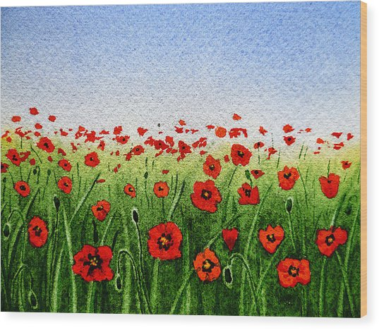 Red Poppies Green Field And A Blue Blue Sky Wood Print