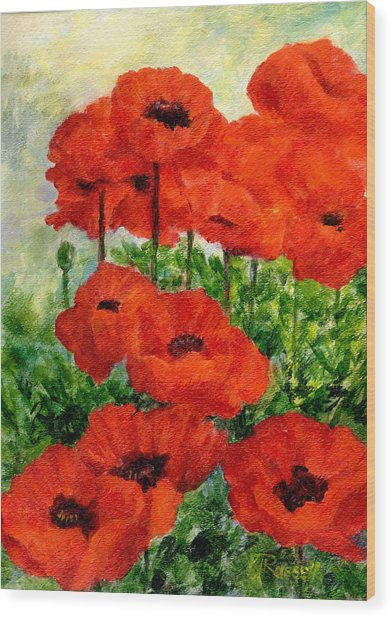 Red  Poppies In Shade Colorful Flowers Garden Art Wood Print