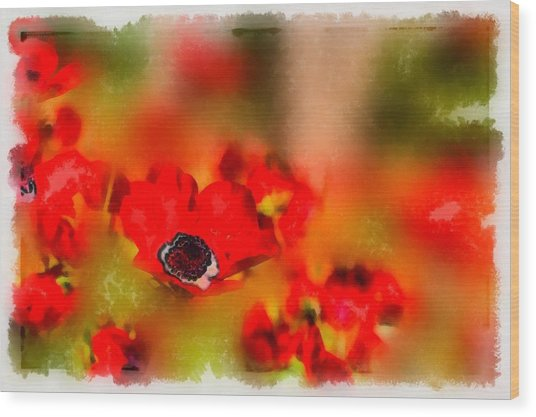 Red Poppies Inspiration Wood Print