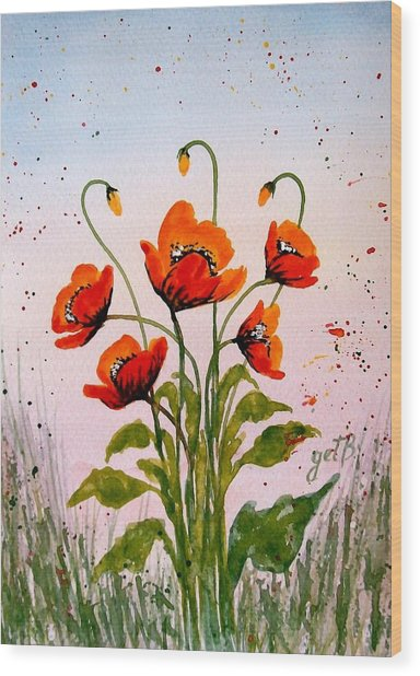 Red Poppies Original Watercolor  Wood Print