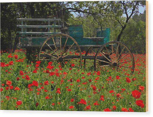 Red Poppies With Wagon Wood Print