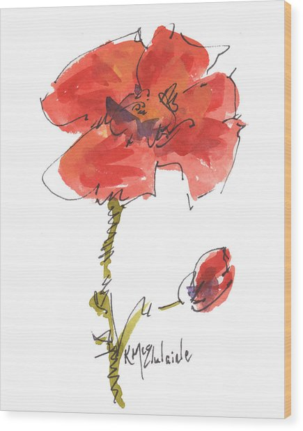 Red Poppy And Pal Wood Print