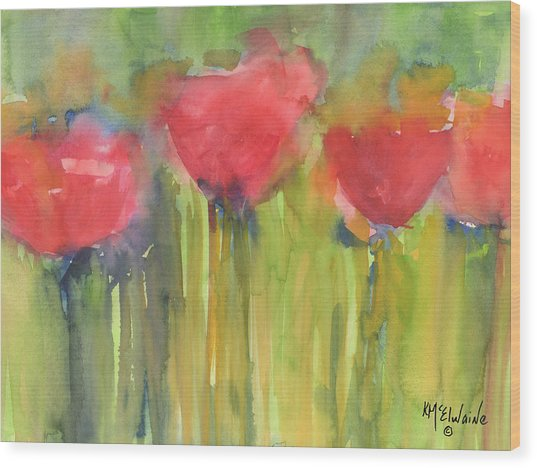 Red Poppy Elegance Wood Print