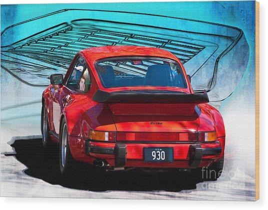 Red Porsche 930 Turbo Wood Print