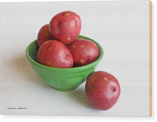 Red Potatoes In A Green Bowl Wood Print