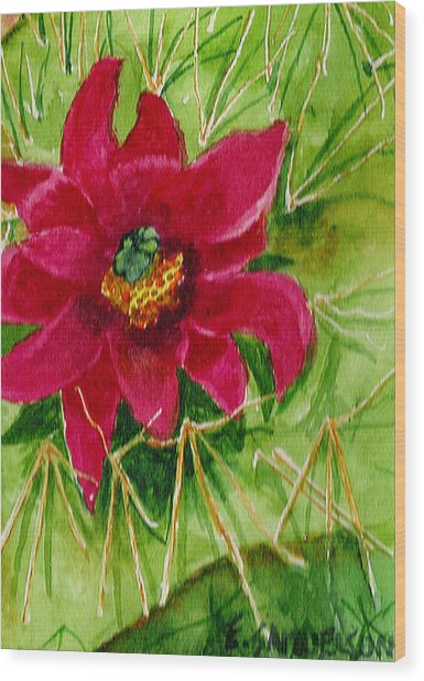 Red Prickly Pear Wood Print