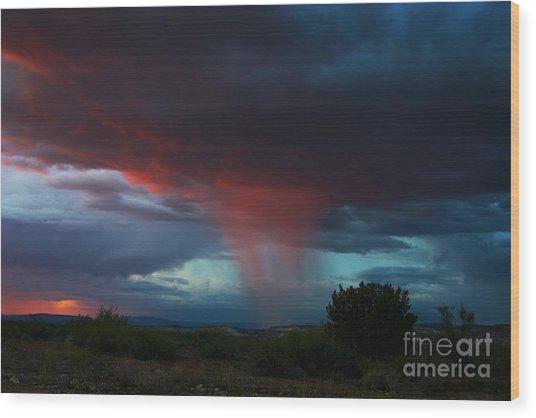 Red Rain Wood Print
