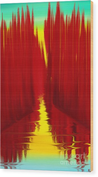 Red Reed River Wood Print