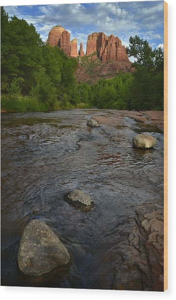 Red Rock Crossing Under Cathedral Rock Wood Print